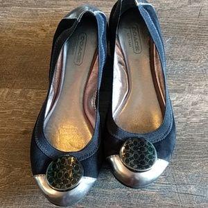 Coach Ballet Flats black suede + silver NWOT 7.5